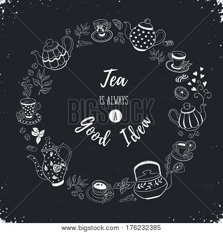 Tea time poster concept. Tea party invitation card design. Hand drawn doodle illustration with teapots cups and sweets.