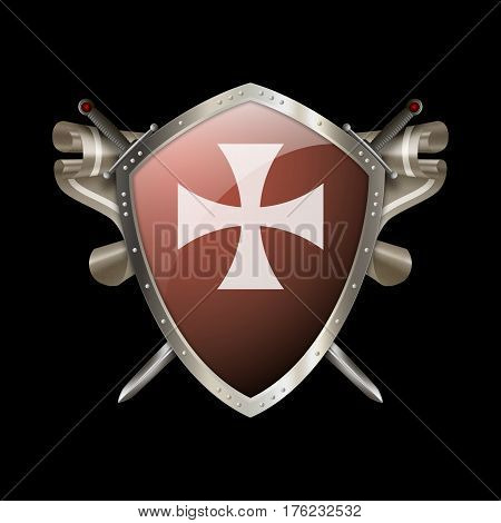 Ancient riveted shield with maltese cross and antique scroll on black background.
