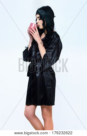 Sexy Girl Posing In Black Silk Robe With Cup