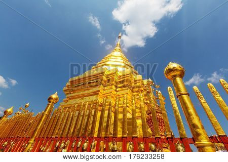 Wat Phra That Doi Suthep is the most famous temple in Chiang Mai.Northern  Thailand.