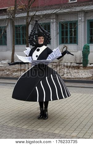 MOSCOW - MARCH 11, 2017: Street actors from