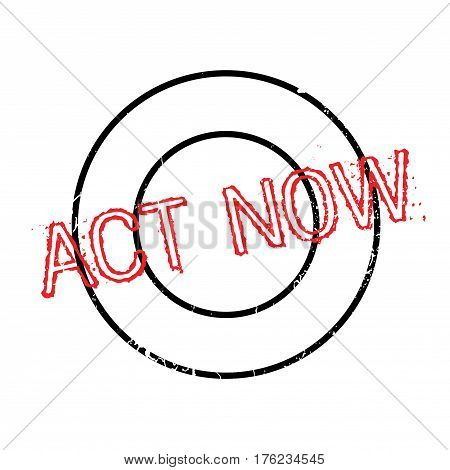 Act Now rubber stamp. Grunge design with dust scratches. Effects can be easily removed for a clean, crisp look. Color is easily changed.