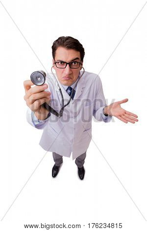 Male doctor isolated on the white background