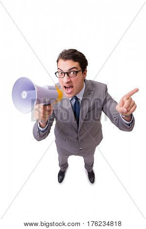 Businessman with loudspeaker isolated on the white background