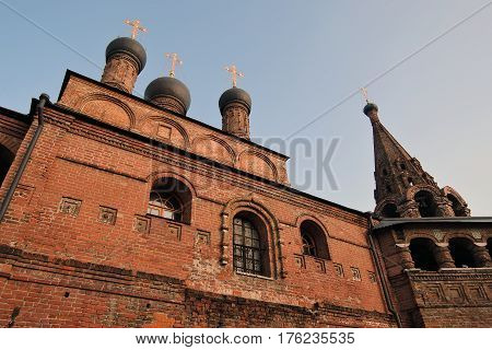 Architecture of Ktutitsy - old monastery in Moscow. Popular landmark. Assumption church. Color photo.