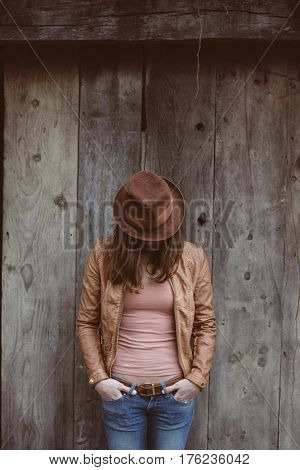 Fashionable young woman posing outdoor