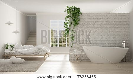 Scandinavian White Minimalist Bathroom And Bedroom, Open Space, One Room Apartment, Modern Interior