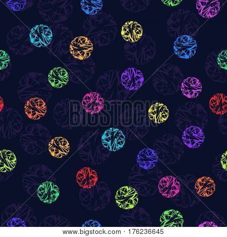 Seamless Pattern of Bright Colorful Tangles on Dark Backdrop for Cloth Fabric Textile Tissue. Decorative Continuous Background of Abstract Spheres.