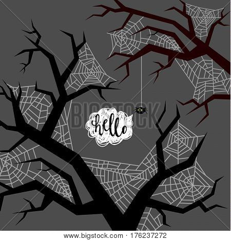Halloween illustration. Spider wove a web on the trees. Flat design, vector illustration.