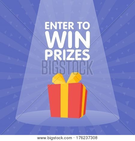 Enter to win Gift Prize red box spotlight vector illustration.