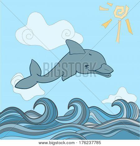 Dolphins in blue sea wave. Cartoons seascape, sun, clouds