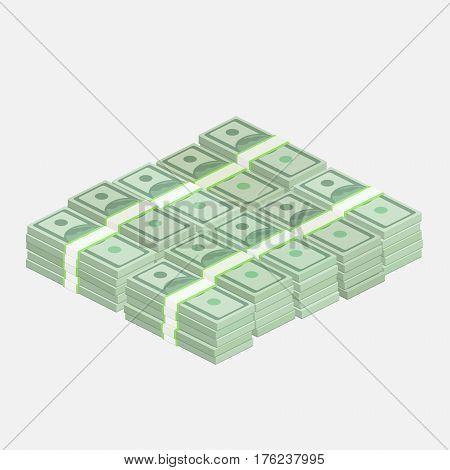 Stacks of one hundred dollar bills. Flat design, vector illustration