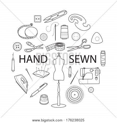Sewing and tailoring tools, Sewing machine, pins, tapes and mannequin or dummy, Black outline vector round concept, Hand sewn