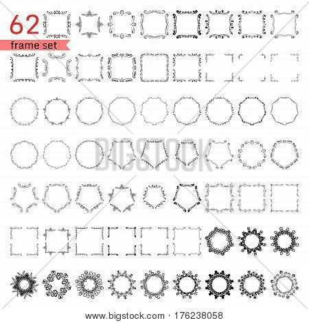 Bunch of simple and elegant circle ornament templates, square frames design, monogram design templates for labels and logos. Vector illustration