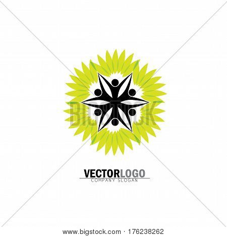 People In Circle Embracing Tree Or Plant - Eco Concept Vector Logo
