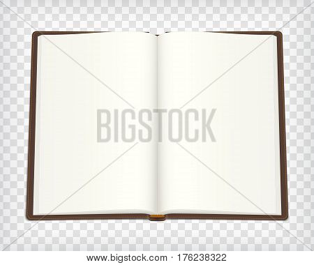 Notebook mockup. Empty sketch book with brown cover. Open art book with place for your design. Blank sketchbook mock up. Vector illustration.