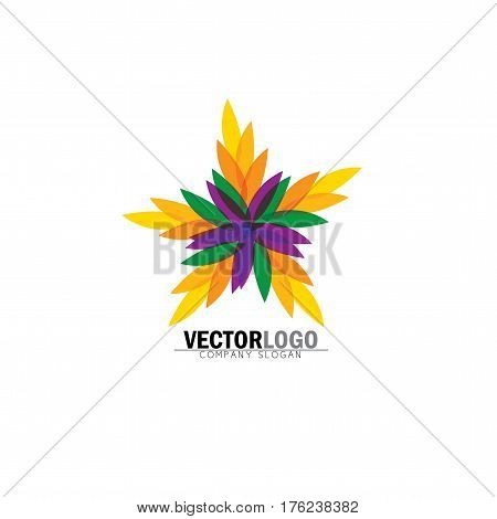 stylized vector colorful leaves icon in star floral pattern - eco concept vector logo. This also represents ecological balance evergreen forests sustainable development balance in nature