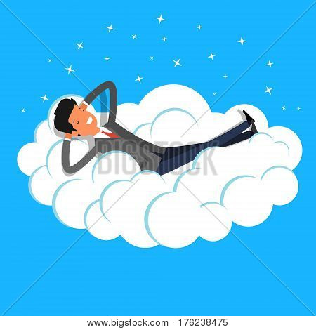 Business man dreaming on a cloud. Concept of big dreams