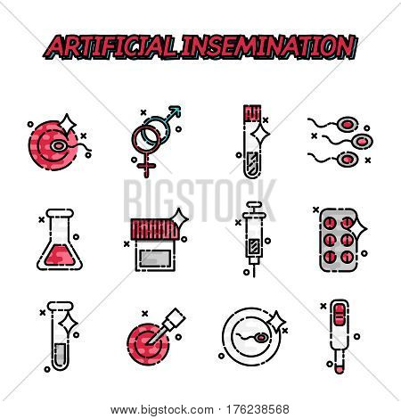 Artificial insemination flat icons set with pregnancy symbols flat isolated vector illustration