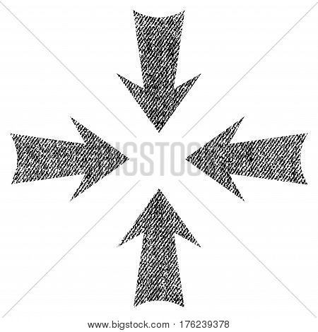 Reduce Arrows vector textured icon for overlay watermark stamps. Fabric black vectorized texture. Symbol with dust design. Rubber seal stamp with fiber textile structure.