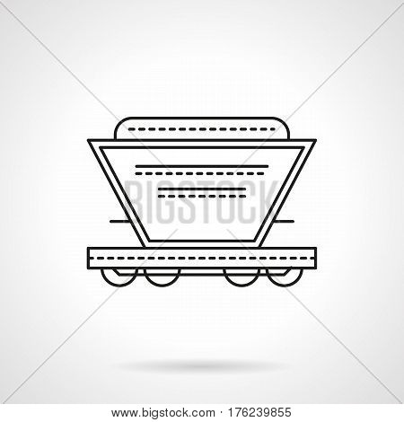 Railroad transportation of grain, fertilizer, cement and other bulk cargo. Hopper car symbol. Flat black line vector icon.
