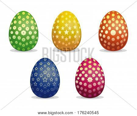 Set Easter eggs. Different patterns on Easter eggs. Eggs for Easter holidays design. Easter eggs vector icon collection isolated on white background