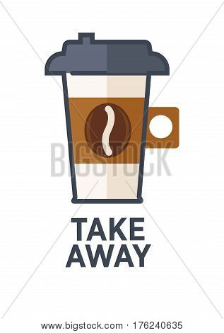 Coffee for takeaway logo template. Vector hot americano or espresso drink paper cup with lid. Vector isolated flat icon for fast food cafe, cafeteria or coffeehouse design element