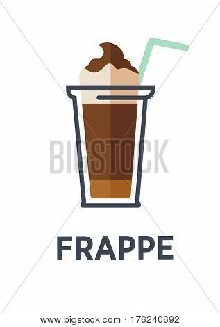 Coffee for takeaway logo template. Vector cold frappe drink cup with ice and chocolate cream. Vector isolated flat icon for fast food cafe, cafeteria or coffeehouse design element
