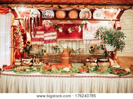 Delicious Cossack table wedding table in a restaurant