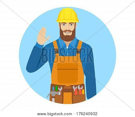 Worker greeting someone with his hand raised up. Portrait of worker in a flat style. Vector illustration.