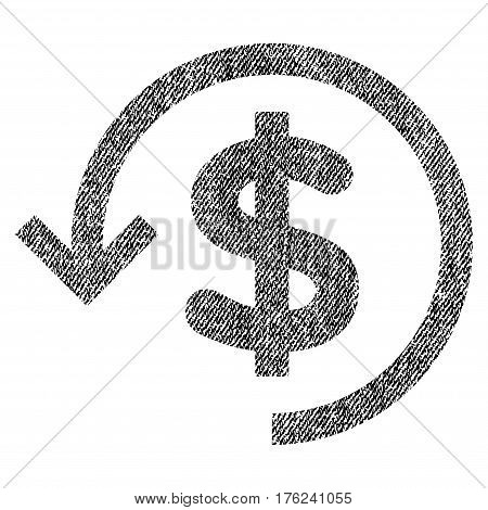 Refund vector textured icon for overlay watermark stamps. Fabric black vectorized texture. Symbol with dirty design. Rubber seal stamp with fiber textile structure.