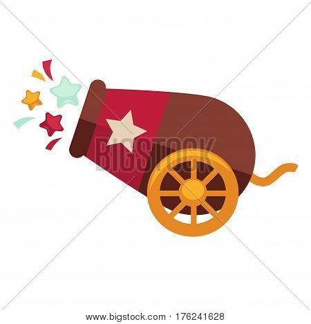 Circus cannon for cannonball performance with confetti. Vector isolated retro show flat icon