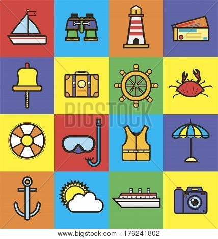 Sea cruise travel and summer vacation icons. Yacht helm and anchor, life vest and buoy, crab and ship, camera and sun, lighthouse and suitcase. Vector flat set for ocean journey or holiday trip