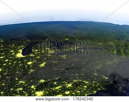 Big Lakes At Night On Realistic Model Of Earth