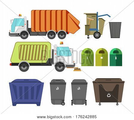Garbage removal municipal service machinery equipment. Litter dumpsters or waste container bins and loader trucks or dustcarts. Vector isolated flat icons set