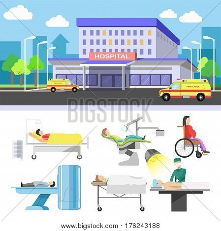 Hospital building and patients vector flat icons for medical infographics. Dentist chair, surgeon operation table, therapist mri tomography scan, ambulance wheelchair for pregnant and emergency room