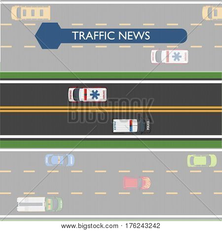 Traffic news icon with road lines and transportation on it. Vector illustration of two clearly seen lines of asphalt road with ambulance and police vehicles, and other darkened lines with transport