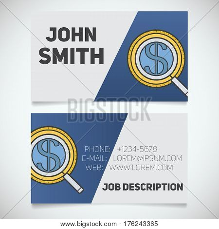 Business card print template with money search logo. Businessman. Investor. Stationery design concept. Vector illustration