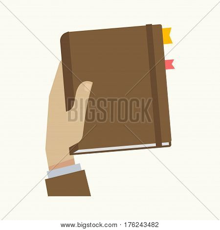 Notebook or business calendar organizer copybook with bookmarks of sticky tabs or notes in businessman hand. Vector isolated icon