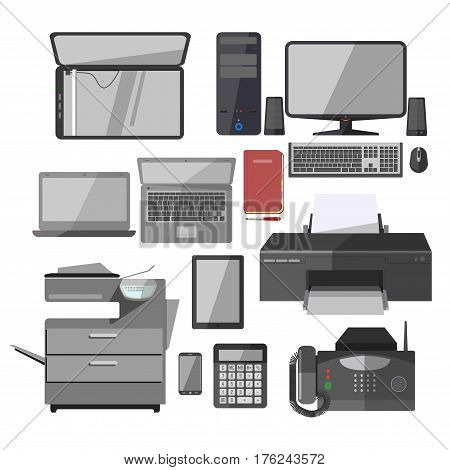 Office equipment and manager work devices. Vector isolated flat icons of printer, computer monitor and wireless accessories, digital smart appliances and stationery