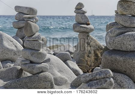 View of stone art in incredible balance