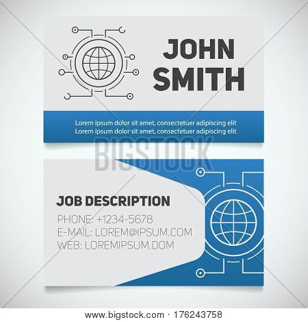 Business card print template with globe logo. Easy edit. Worldwide. Internet service provider. Stationery design concept. Vector illustration