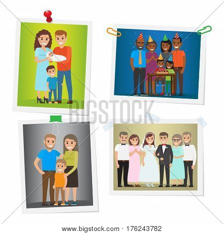 Happy family pinned portraits set. Smiling parents with children celebrating kids birthday and newlyweds with parents-in-law on wedding ceremony pictures with pins and clips flat vector illustrations