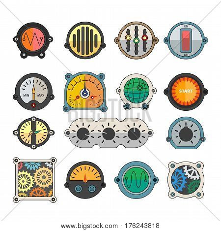 Robots and transformer indicator and toggle meters elements. Spare parts of monitor relay switch, cogwheel sensor display, speaker and volume controller details. Vector flat icons set