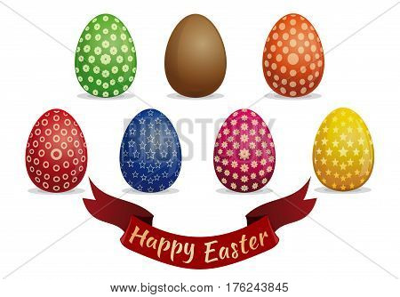 Set Easter eggs with various patterns. Greeting card with Easter eggs. Happy Easter. Eggs for Easter holidays design. Vector icons isolated on white background