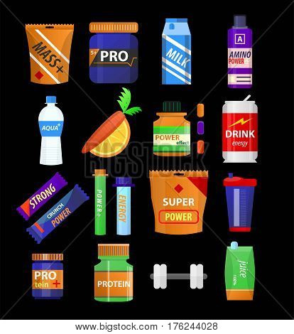 Sport and fitness nutrition and dietary supplements. Energy snack bar, protein drink in shaker cup for muscle mass, vitamin juice water, carrot and gym dumbbell or barbell. Vector flat icons set