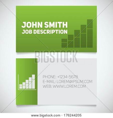 Business card print template with income growth chart logo. Easy edit. Marketer. Stockbroker. Analyst. Stationery design concept. Vector illustration
