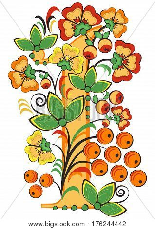 Floral ornament with flowers apples and berries in shape of number 1 in Khokhloma style in traditional colors isolated on white background. Russian folklore. Vector illustration