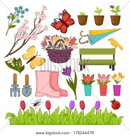 Spring gardening flowers and seedling plants, planting tools. Vector icons set of flowerpot, umbrella and tulips in wicker basket, garden spade and rake, springtime butterfly and ladybug