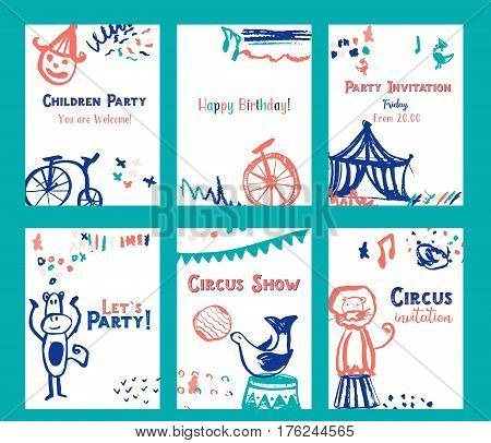 Kid birthday invitation card design set with circus elements vector illustration.